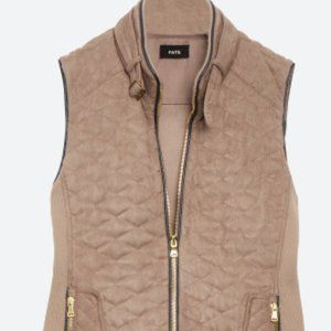NWOT Fate Rowen Faux Suede Quilted Vest, Size L